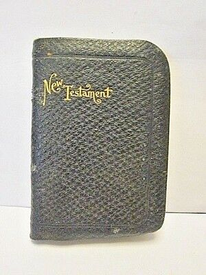 antique miniature New Testament leather cover gilded edges 1905