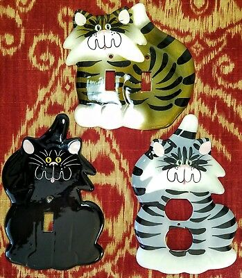 Cicada Ceramic Studios - Cat Shaped Double Single Light Switch and Outlet Covers
