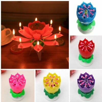 Fireworks Spinning Candle Birthday Music Rotating Flower Cake Topper Party