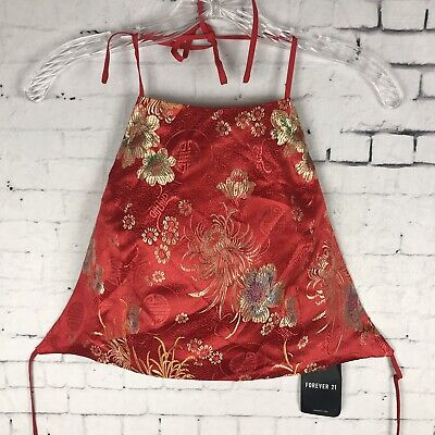 0f1e2d9734a Forever 21 Crop Top Large Women's Red Eastern Asian Halter Ties Tank (A58)