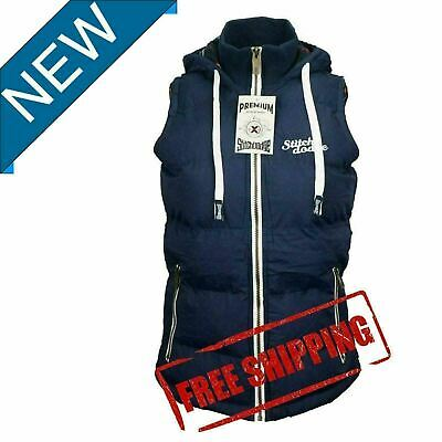 Womens Full Zip Vest Hooded Puffer Warm Fleece Jacket For  autumn Navy Size 10-