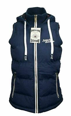 Womens Full Zip Vest Hooded Puffer Warm Fleece Jacket Winter Autumn Navy Size 16