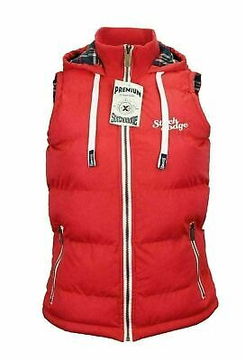 Womens Full Zip Vest Hooded Puffer Warm Fleece Jacket For  autumn Red Size 12-