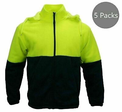 5 Packs Hi-Vis Safety Full Zip Fleece Hooded WorkWear Men's Uniform Yellow --
