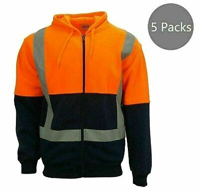 5 Packs Hi-Vis Reflect Tape Safety Zip Hooded Work Wear Long Sleeves Orange--