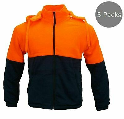 5 Packs Hi-Vis Safety Full Zip Fleece Hooded WorkWear PPE Men's Uniform Orange