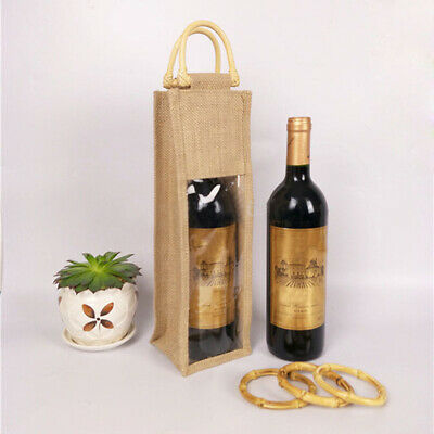 Party Wedding Gift Burlap Jute Wine Pouches Single Two Bottles Favor Bag DecorBS