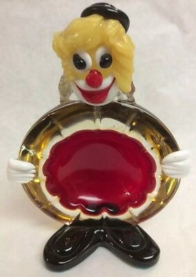 Vintage Murano Italy Hand Blown Colorful Glass Clown Bowl G28