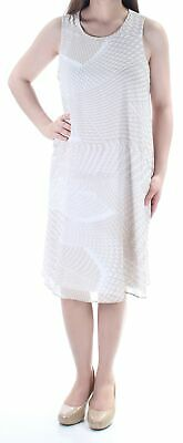 843767d6a7 NIGHTWAY  119 WOMENS Beige Printed Lace Bell Sleeve Mini Shift Dress ...