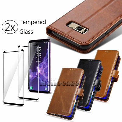 For Galaxy Note 9/8 S10/S9 Plus Luxury Leather Wallet Stand Thin Slim Case Cover