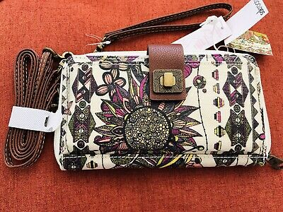 NWT Sakroots Artist Smartphone Wristlet Crossbody Wallet In Bloom Raspberry
