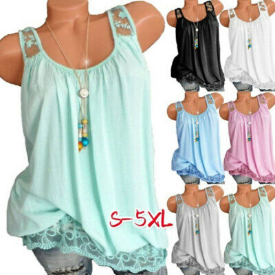 Lace Tank Tops Women Vest Sleeveless T Shirts Beach Basic Tee Plus Size Clothing