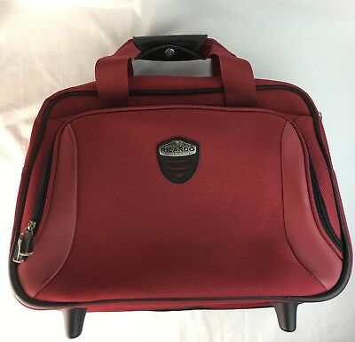 Rolling Luggage Carry on Ricardo Beverly Hills Suitcase Overnight Travel Bag Red