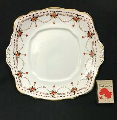 C.1920'S English Royal Albert Crown China Cake Plate Tab Handles Gd Condition.