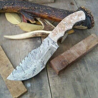 "10"" Fixed Blades Custom Hand Forged Damascus Steel Blade Tracker Knife / Sheath"