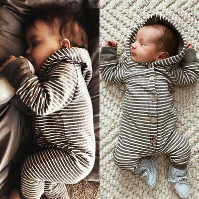 AUSTOCK Newborn Baby Boy Girl Kid Romper Jumpsuit Hooded Bodysuit Clothes Outfit
