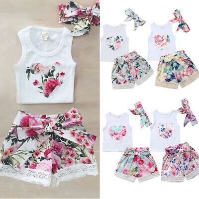 AU Toddler Kids Baby Girls Summer Clothes Floral Tops Shorts Pants 3PCS Outfits