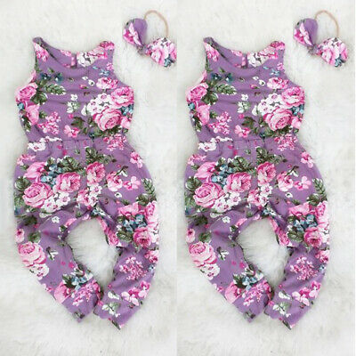 AU Floral Newborn Kid Baby Girl Romper Bodysuit Jumpsuit Headband Outfit Clothes