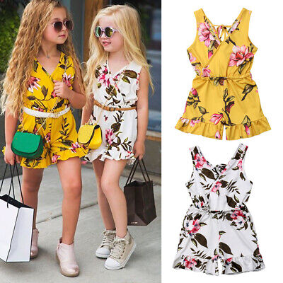 AU Summer Toddler Baby Kids Girls Floral Romper Bodysuit Jumpsuit Outfit Clothes