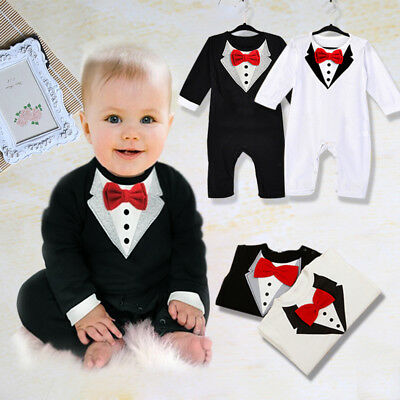 AU Kid Baby Boy Toddler Gentleman Suit Romper Jumpsuit Bodysuit Clothes Outfit W
