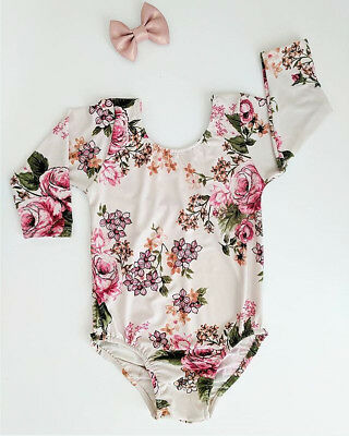 AU Kids Baby Girls Toddler Floral Romper Bodysuit Jumpsuit Outfits Clothes