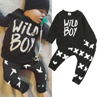 AU Newborn Infant Baby Boy Clothes T-shirt Tops+Long Pants Outfit Set 2Pcs