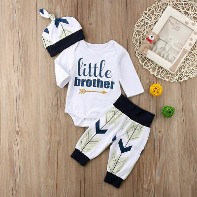 AU Newborn Baby Boys Brother Romper Pants Hat Infant Outfits Set Clothes