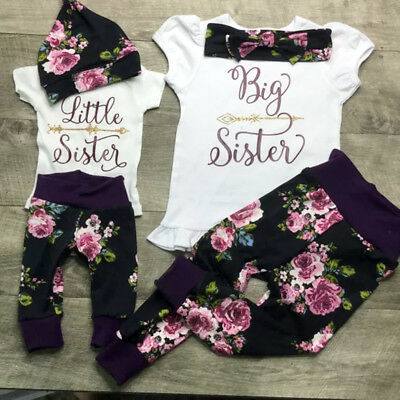 AU 3PCS Big Little Sisters Baby Kid Girl T-shirt Romper +Floral Pants Outfit Set