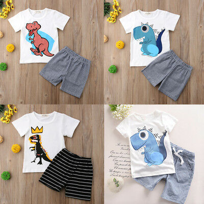 AU Kids Baby Boy Cotton Dinosaur T-Shirt Top Tee + pants Casual Clothes Outfit