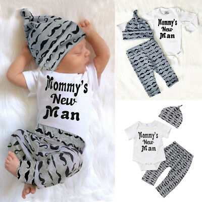 AU Newborn Baby Boy Outfit Set Clothes Romper Bodysuit + Long Pants Leggings Hat