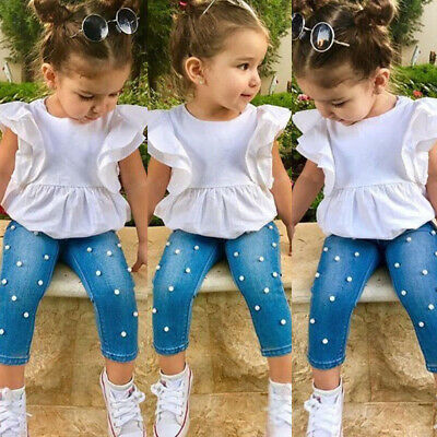 AU 2Pcs Toddler Kids Baby Girls Ruffle Tops T-shirt + Denim Pants Outfit Clothes