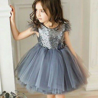 AU Toddler Baby Girls Princess Dress Kids Sequins Tutu Party Prom Wedding Dress