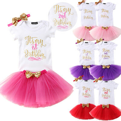 AU Lace 1st Birthday Baby Girl Kids Romper Jumpsuit Lace Skirt Party Dress