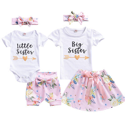 AU Newborn Baby Girl Sister Matching Outfit Floral Clothes T-shirt Pants Skirts