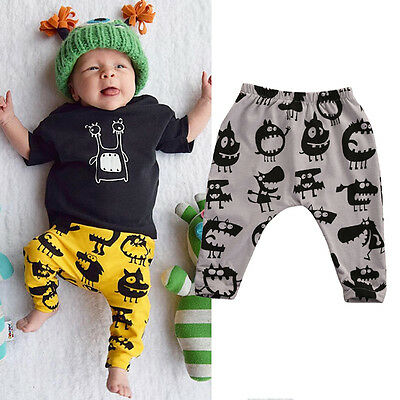 AU Newborn Baby Boys Girls Kids Bottoms Harem Long Pants Leggings 0-3Y