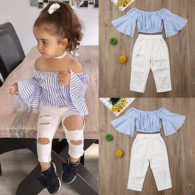 AU Toddler Kids Baby Girls Off Shoulder T-shirt Tops Ripped Pants Outfit Clothes