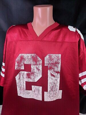 best cheap fef19 e50a7 VTG DEION SANDERS Jersey Sz 2XL Red Distressed NFL Football San Francisco  49ers