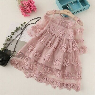 AU Fancy Kids Baby Girl Flower Dress Lace Tutu Party Gown Pageant Dress Sundress