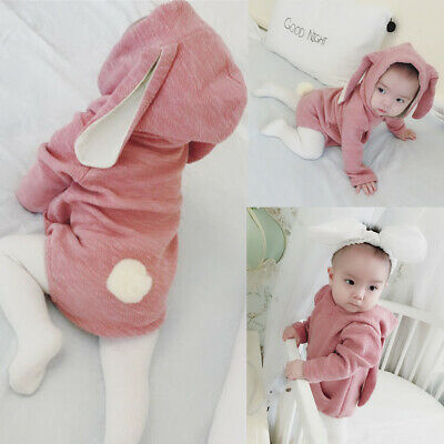 AU Easter Infant Baby Girl Boy Long Sleeve Bunny Hooded Romper Outfits Bodysuit