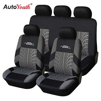 AUTOYOUTH  Embroidery Car Seat Covers Set with Tire Track Detail Style Protector