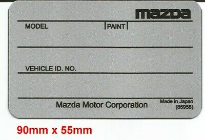 Replacement Vin Plate Identification ID Tag Data Plate for Mazda + YOUR OWN TEXT