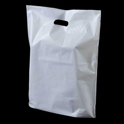 "500 x Strong White Fashion Plastic Carrier Bags - 15"" x 18""x 3"" (MEDIUM)"
