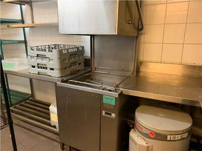 Commercial Dishwasher with side bench, sinks, taps, shelf and trays
