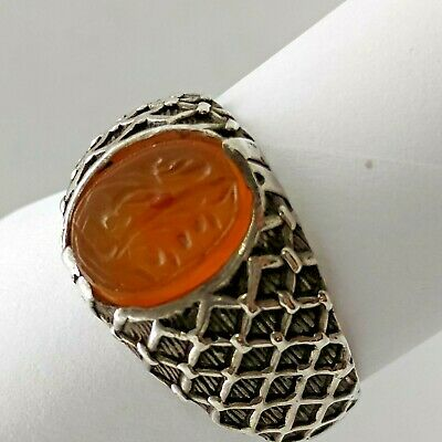 Personal Seal Stone Antique Islamic Yellow Agate Set In Sterling Silver Ring
