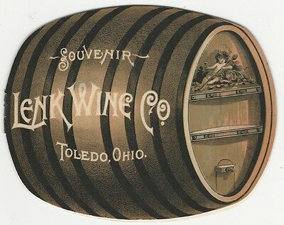 1892 Lenk Wine Toledo Ohio Wine Barrel Shaped Booklet - American Vineyard