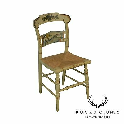 Hitchcock Limited Edition Christmas 1983 Hand Painted Rush Seat Side Chair