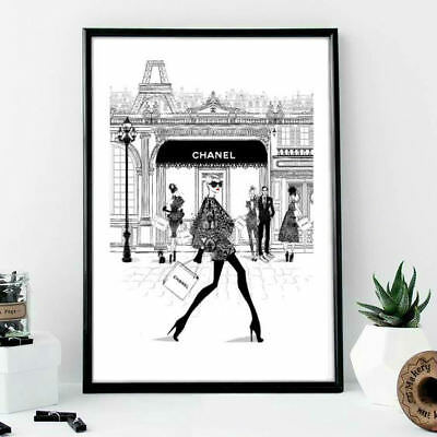 Wall print art stylish woman in paris Chanel shopping fashion poster