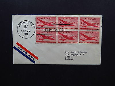 FDC Cover US Airmail Washington DC Baltimore MD to Oslo Norway 1946 Block of 6