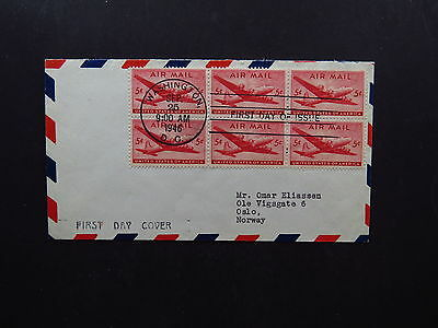 FDC US Airmail Washington DC Baltimore Maryland to Oslo Norway 1946 Block of 6