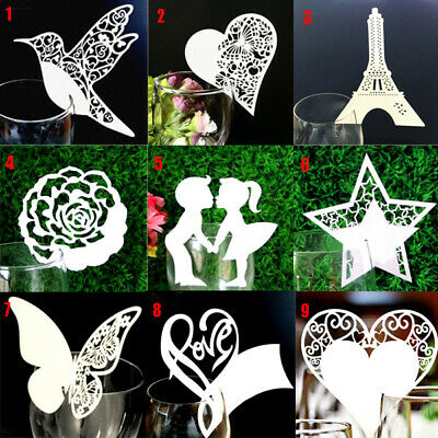 50pcs Name Place Card Wine Glass Paper Butterfly Cut-out Place Escort Cards